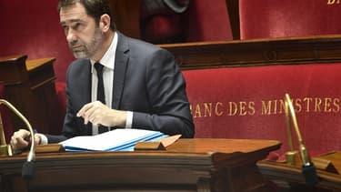 """Le ministre de l'Intérieur Christophe Castaner, le jour du vote solennel en première lecture à l'Assemblée nationale de la proposition de loi """"anti-casseurs"""", le 5 février 2019."""