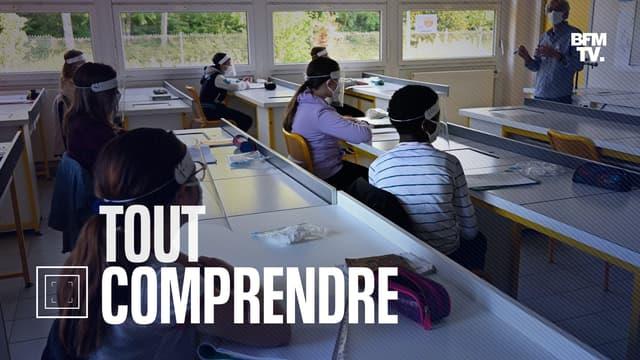 Des élèves d'un collège à Angers (Maine-et-Loire) après le premier confinement, en mai 2020.