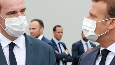 Le Premier ministre Jean Castex et le président Emmanuel Macron, place de la Concorde à Paris, pour la parade du 14 juillet 2020
