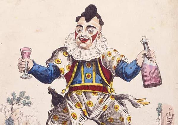 Le clown Grimaldi, représenté par l'illustrateur britannique George Cruikshank.