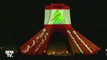 Iran: la tour Azadi s'illumine à Téhéran après les explosions de Beyrouth
