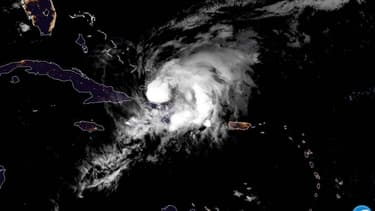 L'ouragan Isaias au-dessus de la République dominicaine le 31 juillet 2020.
