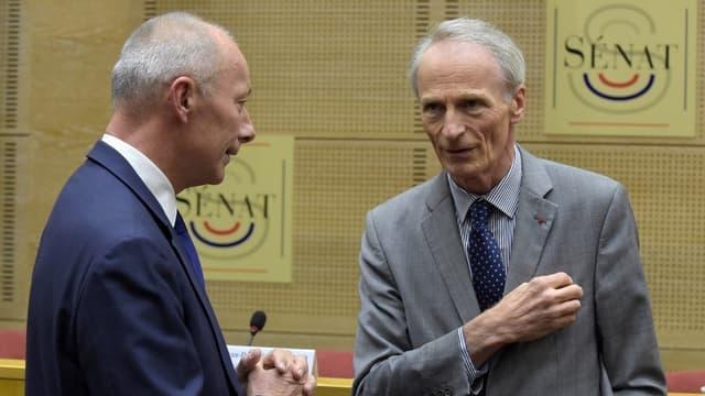 Thierry Bolloré, directeur général du groupe Renault, et Jean-Dominique Senard, président, lors de leur audition au Sénat.