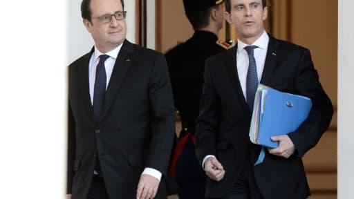 François Hollande et Manuel Valls à l'Elysée, le 10 février 2016