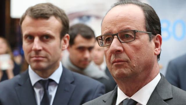 Emmanuel Macron et François Hollande à l'Elysée le 23 mai 2016.