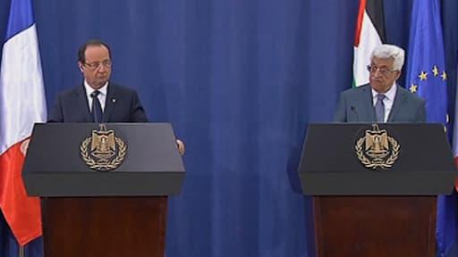 François Hollande lors de sa conférence de presse commune avec Mahmoud Abbas, le 18 novembre 2013