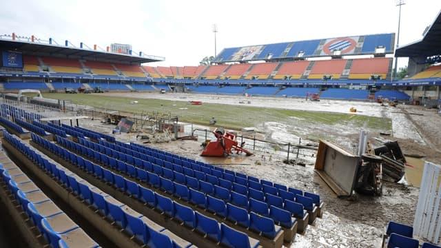 Le stade de la Mosson a fortement souffert des inondations
