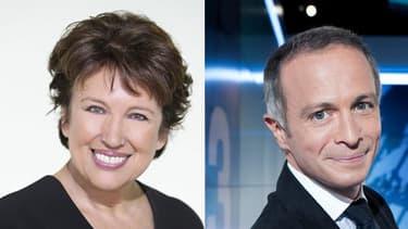 Roselyne Bachelot, chroniqueuse sur D8 et Samuel Etienne, futur animateur de Questions pour un champion sur France 3.