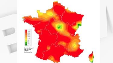 Les régions françaises touchées par la gastro-entérite dans la période allant du 30 décembre 2019 au 5 janvier 2020.
