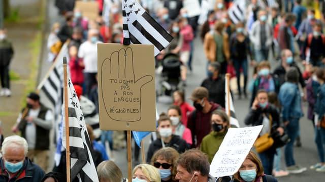"""Des milliers de personnes ont manifesté samedi à Guingamp pour défendre """"l'enseignement immersif"""" en langues régionales, censuré par le Conseil constitutionnel."""