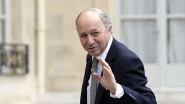 Laurent Fabius, ministre des Affaires étrangères, sur le perron de l'Elysée le 17 novembre 2012