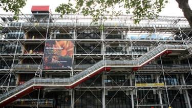 """La """"chenille"""" d'escaliers mécaniques du Centre Pompidou à Paris le 7 juin 2009"""
