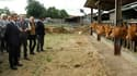 Lors d'un déplacement en Charente, Nicolas Sarkozy (ici en visite dans la ferme de deux éleveurs à Montemboeuf) a annoncé jeudi plus de 500 millions d'euros d'aides supplémentaires pour les agriculteurs victimes de la sécheresse et un plan à moyen terme d