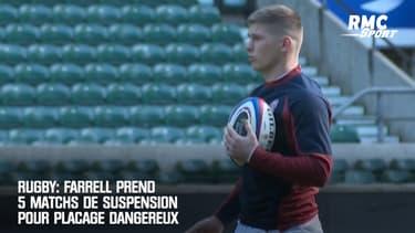 Rugby: Farrell prend 5 matchs de suspension pour placage dangereux