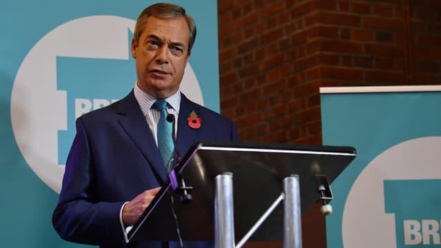 Le leader du parti du Brexit Nigel Farage lance sa campagne pour les législatives de décembre, le 1er novembre 2019 à Londres