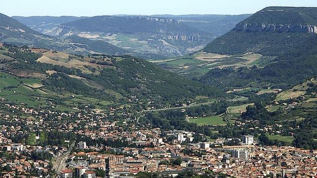 Vue sur la ville de Millau, en Aveyron
