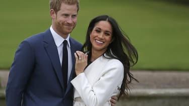 Le prince Harry et Meghan Markle, le 27 novembre 2017, après l'annonce de leurs fiançailles.