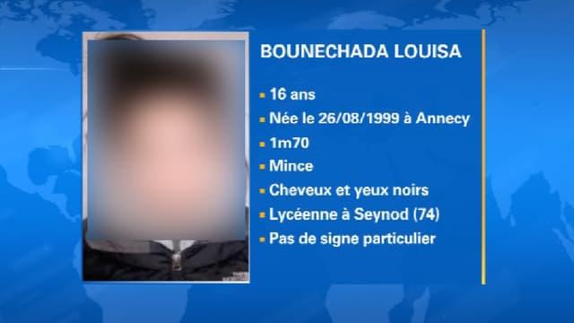 Louisa, l'une des deux lycéennes en fugue depuis vendredi, en rentrée chez elle, en Haute-Savoie.