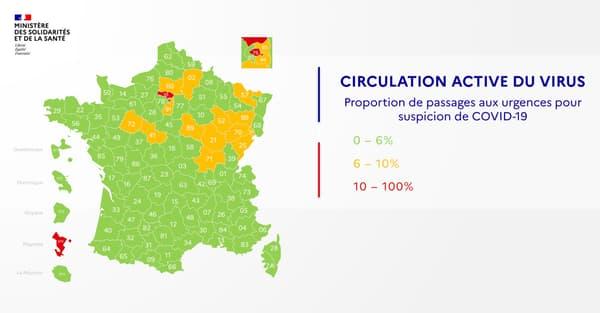 Carte de circulation active du virus en France