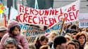 Manifestation à Paris lors de la première journée de mobilisation des personnels de crèche, le 11 mars. Puéricultures et professionnels de la petite enfance sont appelés de nouveau à la grève ce jeudi pour protester contre l'assouplissement des règles d'a