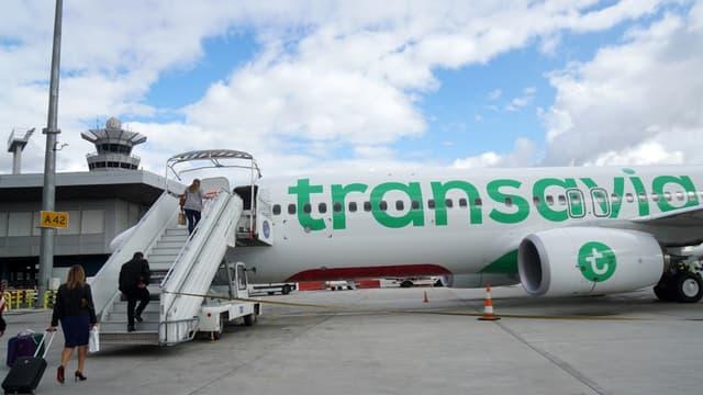 Un avion Transavia sur le tarmac de l'aéroport d'Orly, le 12 octobre 2019 (photo d'illustration)