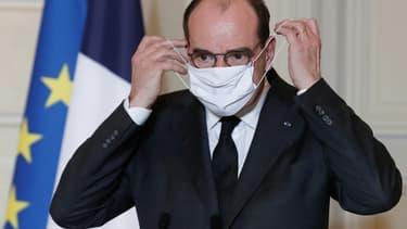 Jean Castex annonce de nouvelles mesures de lutte contre l'épidémie de Covid-19, le 29 janvier 2021, depuis le palais de l'Elysée, à Paris