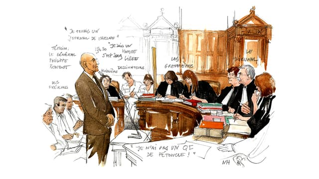 Dessin de 2009, audition du général Rondot au procès Clearstream.