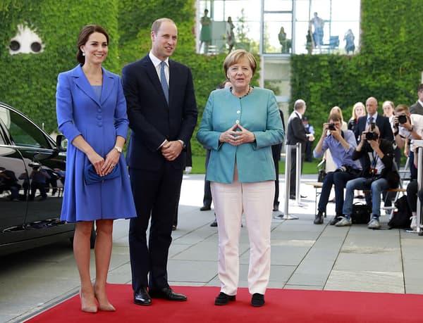 Kate et William en visite officielle à Berlin, avec la chancelière Angela Merkel, le 19 juillet 2017.