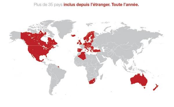 Pays bénéficiant des 25Go d'internet par mois avec Free