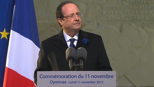 François Hollande à Oyonnax, lors des commémorations du 11 novembre 2013.