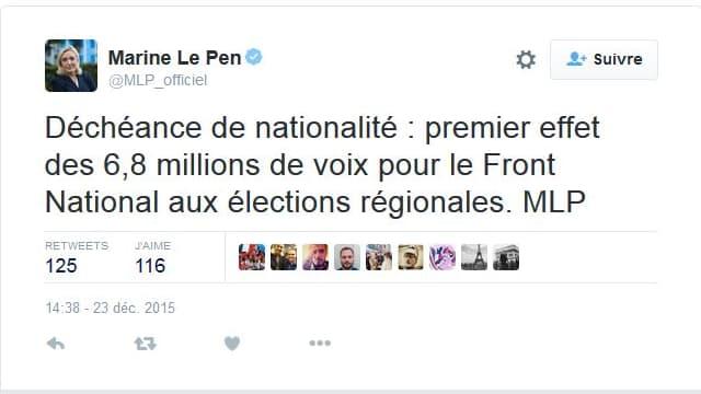 La présidente du Front national impute le changement de cap du gouvernement aux résultats du parti aux élections régionales.
