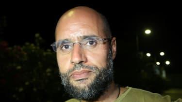 Le fils de l'ex-dictateur libyen Mouammar Kadhafi, Seif al-Islam, le 23 août 2011 à Tripoli