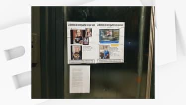 Les militants ont placardé les photos sur le centre dentaire situé près de Lyon.