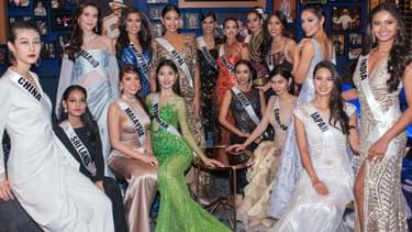 Plusieurs candidates de Miss Univers à Las Vegas, le 20 novembre 2017