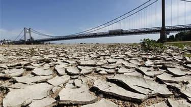 Les rives du lit de la Loire près d'Ancenis, en Loire-Atlantique. La sécheresse affecte désormais tout le territoire français, a déclaré mardi le ministre de l'Agriculture Bruno Le Maire en lançant le processus d'indemnisation des exploitants dans le cadr