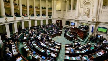 La Chambre des représentants belges, à Bruxelles. - -