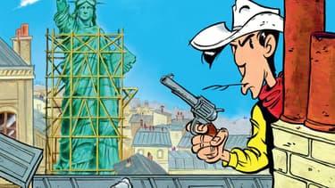 Détail de couverture d'Un Cowboy à Paris, le nouveau Lucky Luke