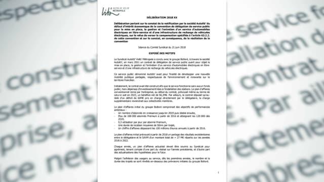 Dans cette délibération, le SAVM résume les raisons qui le conduise à demander la résiliation du contrat avec Bolloré.