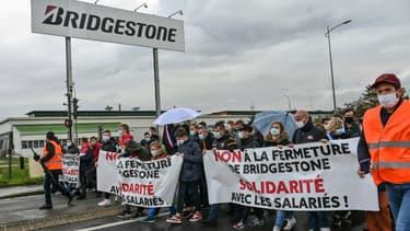 Manifestation contre la fermeture de l'usine Bridgestone, le 4 octobre 2020 à Béthune (Pas-de-Calais)