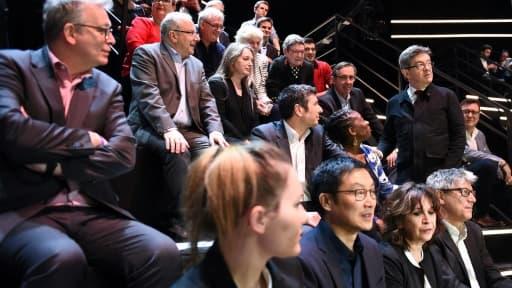 Jean-Luc Mélenchon avant le débat TV sur TF1 le 20 mars 2017 à Aubervilliers