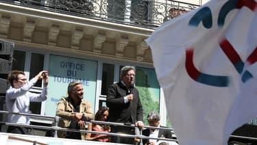 """Alexis Corbière, ici au côté de Jean-Luc Mélenchon, lors de la """"Fête à Macron"""" ce samedi"""