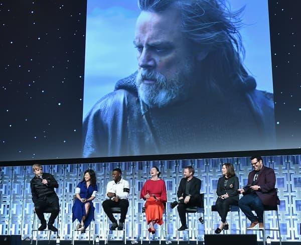 """L'équipe de """"Star Wars VIII: les Derniers Jedi"""" à Orlando, le 14 avril 2017"""