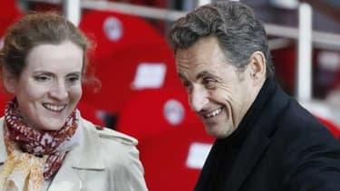 Nicolas Sarkozy et Nathalie Kosciusko-Morizet au parc des Princes le 18 mai 2013. La candidate UMP va bénéficier du soutien de l'ex-président lors de son premier meeting.