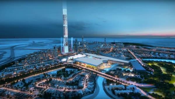 """Simulation du projet Meydan One, dont la plus haute tour """"résidentielle"""" au monde, culminant à 711 mètres."""