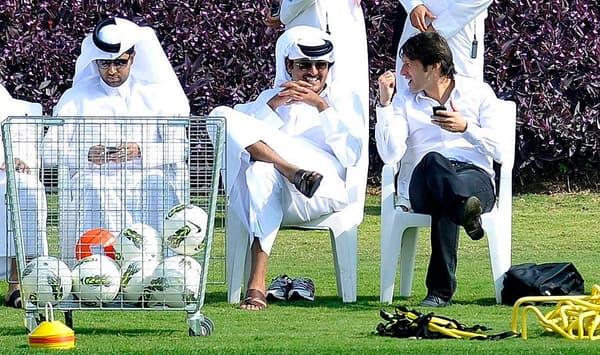 Leonardo avec le Cheikh Tamim Ben Hamad Al Thani en 2012
