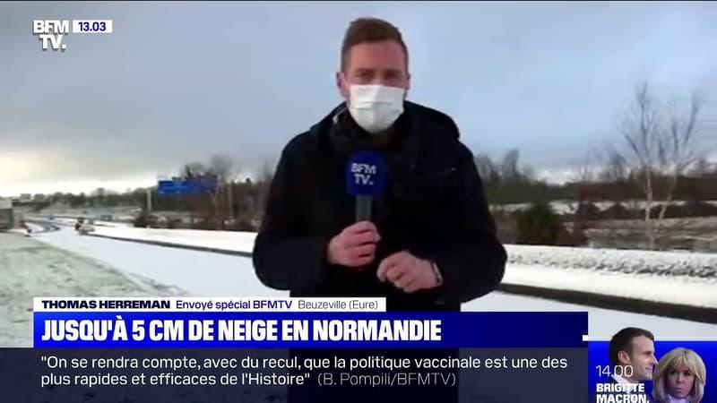 Prudence sur les routes en Normandie où il y a eu jusqu'à 5 cm de neige