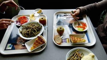 Plateau de déjeuner dans une cantine - image d'illustration