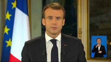 Emmanuel Macron à l'Elysée ce lundi soir.
