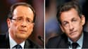 """François Hollande et Nicolas Sarkozy jouent leur va-tout ce week-end lors d'une """"guerre des meetings"""" destinée, pour le premier, à parfaire sa course en tête et, pour le second, à tenter de refaire son handicap à une semaine du premier tour. /Photos d'arc"""