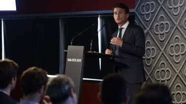Manuel Valls lors de l'annonce de sa candidature à la mairie de Barcelone, ce mardi.